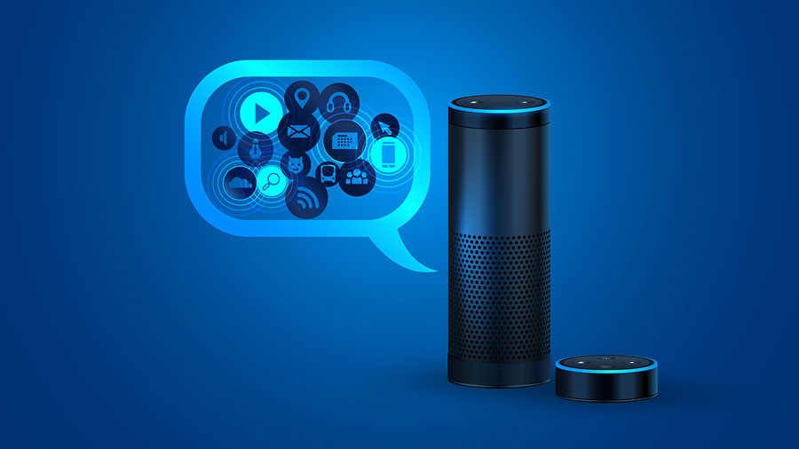 Alexa smart speaker with voice control.
