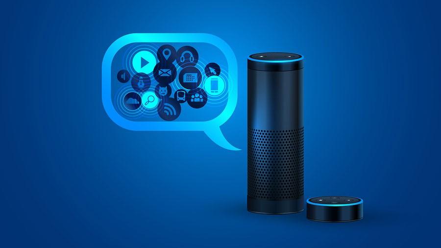 Alexa smart speaker with voice control.