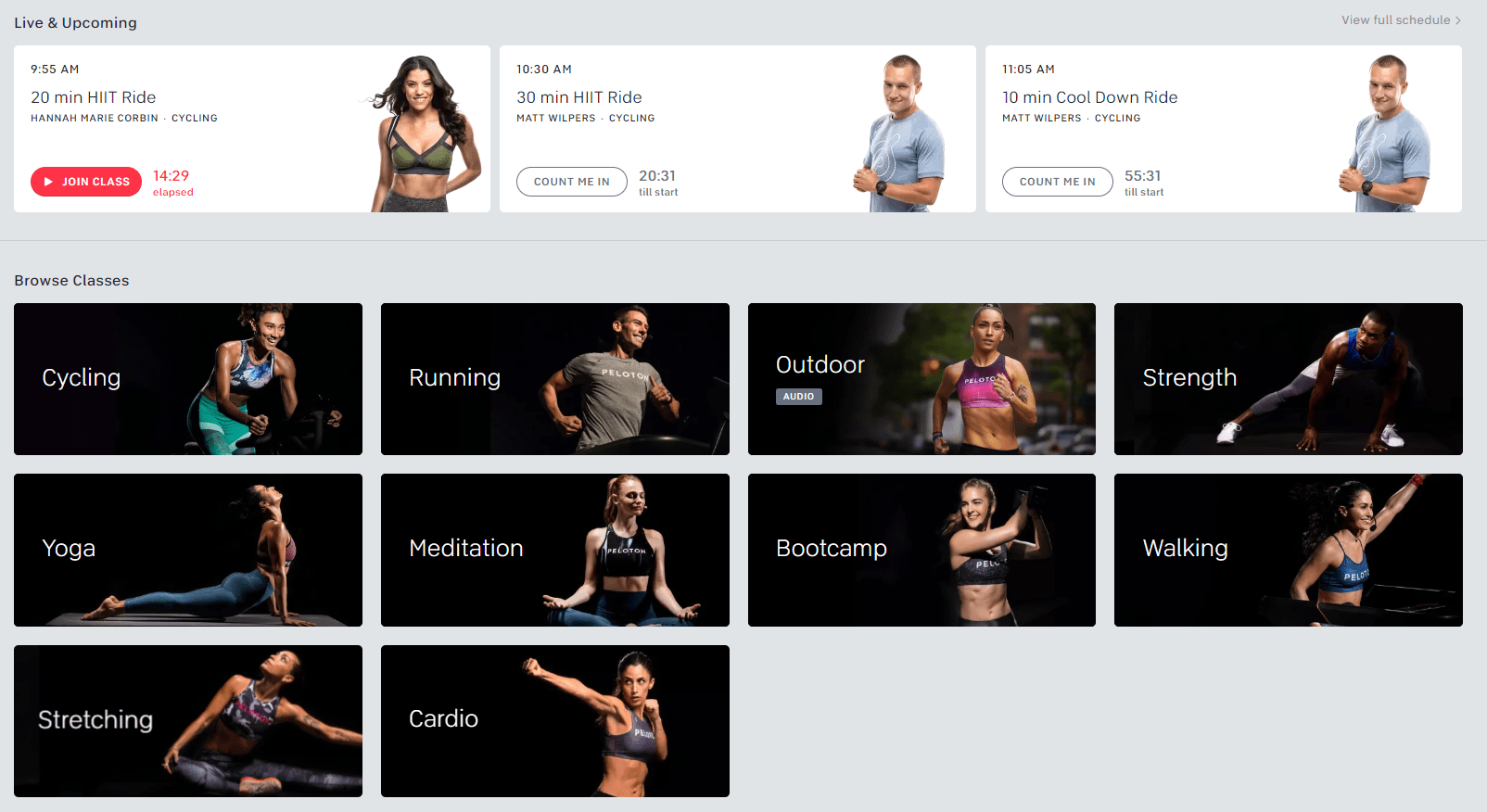 Peloton classes snapshot