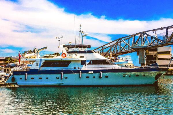 Captain's Cabin On Motor Yacht Overlooking Marina
